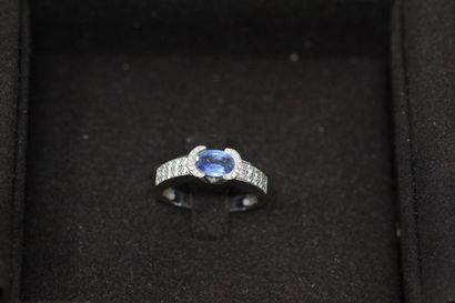WASKOLL  Bague en or gris 18k (750) ornée d'un saphir (0.75 ct) et de 56 diamants...