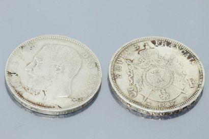 Deux pièces de 5 francs en argent XIXe :...