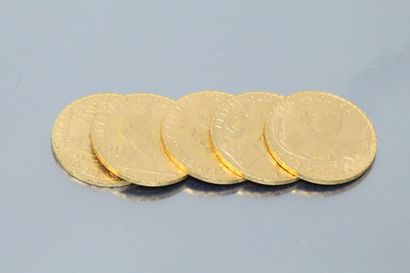 Five gold coins 20 francs Rooster 1914.  TB...