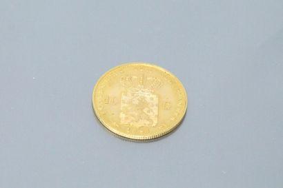 Pièce en or de 10 gulden Wilhelmina I (1897)  TTB  Poids : 6.72 g.