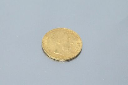 Gold coin of 20 francs Leopold II, 1869....