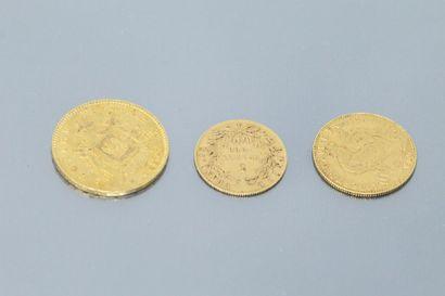 Lot de trois pièces en or comprenant :  -...