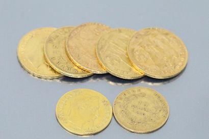 Lot de pièces en or composé de :  - 5 pièces...