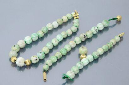 Débris de collier formé de boules de jadéite...