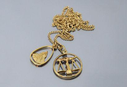 Lot d'or jaune 18k (750) comprenant :  -...