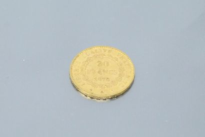 Pièce en or de 20 francs au Génie (1876 A)  TTB.  Poids : 6.45 g.
