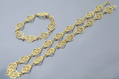 Bracelet et collier en or jaune 18k (750)...