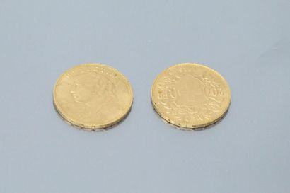 SWITZERLAND  Two gold coins of 20 francs...