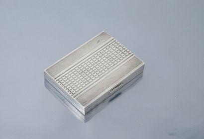 Boîte rectangulaire en argent massif (Sanglier).    Dim. : 7.50x5.50x1.20 cm - Poids...