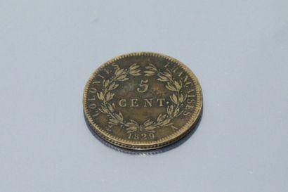 COLONIES FRANCAISES  Pièce en bronze de 5 centimes CHARLES X 1829 A (Paris).    -...