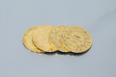 Lot of four 20 franc gold coins comprising...