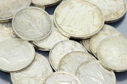 Lot de pièces en argent :  1 Franc Semeuse...