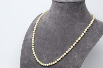 Collier de perles de cultures choker. Fermoir...