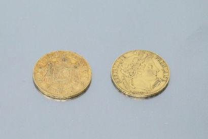 Lot composé de deux pièces en or de 20 Francs...