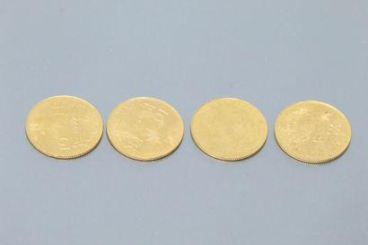 Quatre pièces en or de 10 francs Helvetia...