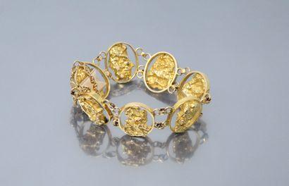 Bracelet en or jaune 18k (750) stylisant...