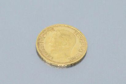 Pièce en or de 7.5 roubles Nicolas II (1897)  Poids : 6.45 g.