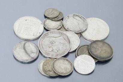 Ensemble de pièces en argent :  - 20 francs...