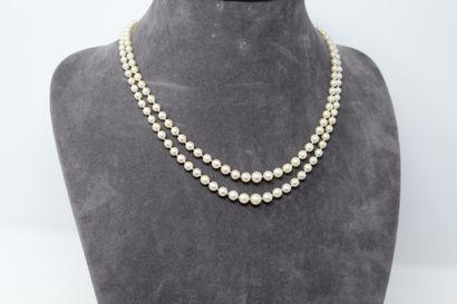 Collier de perles de culture en chute, double...