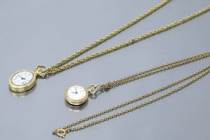Deux petites montres de col contemporaines,...