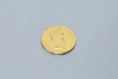 Gold coin of 20 Francs Napoleon III head...