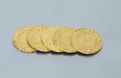 Five gold coins 20 francs Napoleon III bare...