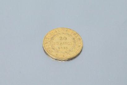 Pièce en or de 20 Francs au Génie, 1876 A.  TTB à SUP.  Poids : 6.45 g.