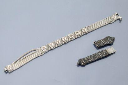 Lot d'argent comprenant un bracelet et un...