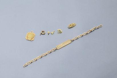 Débris d'or jaune 18k (750) dont gourmette...