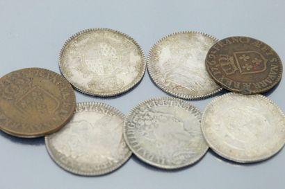 Lot composé de :  - Trois Jetons en argent Louis XVI Etats de Bretagne (1780, 1782...