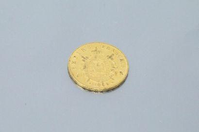 Pièce en or de 20 Francs Napoléon III tête laurée, 1868 A.  TTB à SUP.  Poids :...