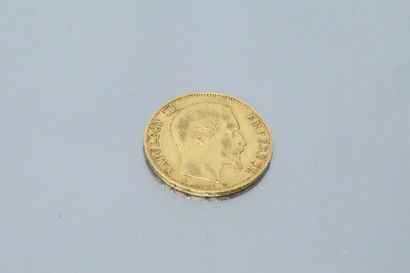 Pièce en or de 20 Francs Napoléon III tête nue, 1860 BB.  TTB à SUP.  Poids : 6.45...