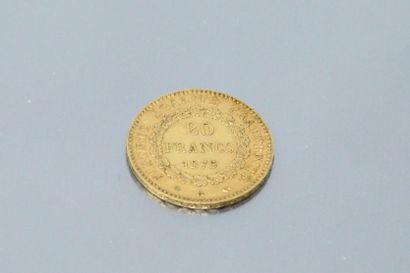 Pièce en or de 20 francs au Génie, 1875 A.  TTB à SUP.  Poids : 6.45 g.