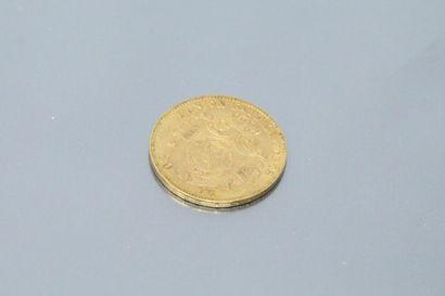 Pièce en or de 20 francs Léopold II, 1869.  TTB à SUP.  Poids : 6.45 g.
