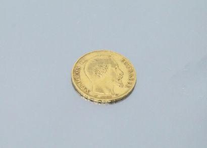Pièce en or de 20 Francs Napoléon III tête nue, 1856 A.  TTB.  Poids : 6.45 g.
