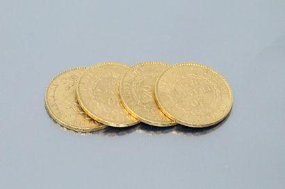 Four gold coins 20 francs Génie IIIè République...