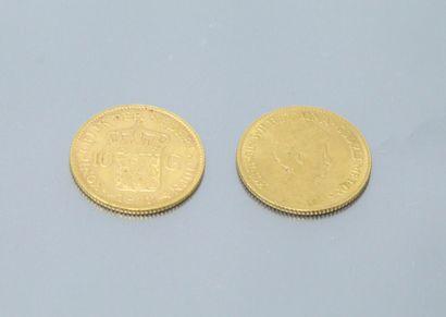 Set of two gold coins of 10 Gulden Wilhelmina...