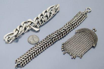Lot en argent comprenant deux bracelets dont...