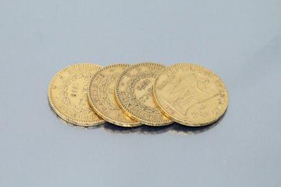 Lot composé de quatre pièces en or de 20...