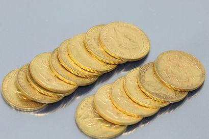 Set of fifteen 18k (750) yellow gold sovereigns....