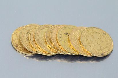Lot de neuf pièces en or comprenant :  -...