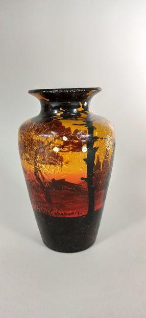 BAREL Jean (20th century)  Vase with Provençal dance decoration.  Terre de Vallauris,...