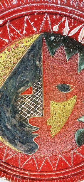 CERENNE - Atelier (1943 -1980)  Grand plat de Franco CARDINALI à décor de visages....