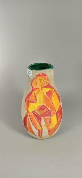 SAGAN Jacques (né en 1927)  Vase à décor...
