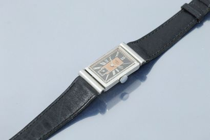 ANONYME  Montre bracelet en acier. Boîtier...