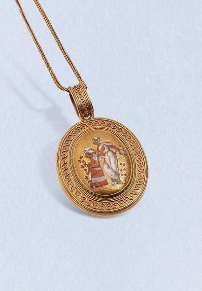 Pendentif en or jaune 18K (750) ouvrant de style archéologique, à décor de filigrane...