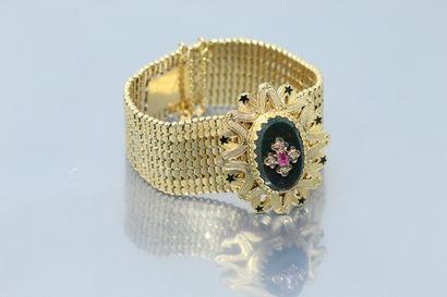 Bracelet articulé en or jaune 18K (750) lisse...