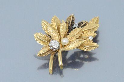 Broche en or jaune 18K (750) à motif de feuillage,...