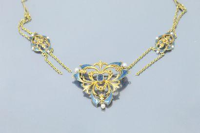 Collier-pendentif-broche en or jaune 18K...