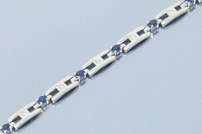 Bracelet articulé or gris 18K (750) à maillons...